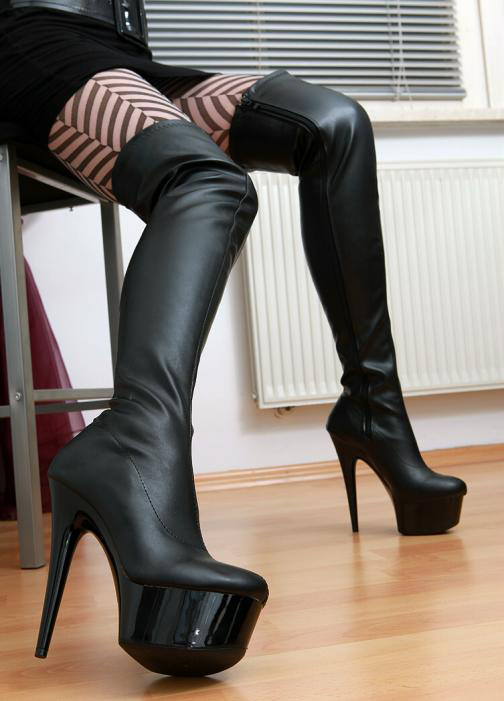 sexy plateau high heels overknee stiefel 36 43 neu 10709 overkneestiefel schwarz ebay. Black Bedroom Furniture Sets. Home Design Ideas