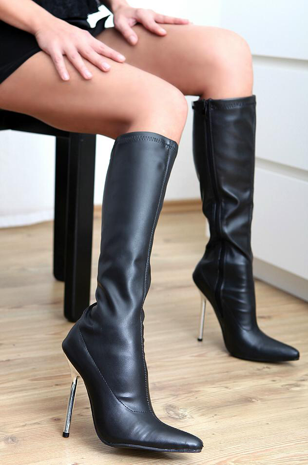 high heels leather look knee boots 36 46 new 2150 black. Black Bedroom Furniture Sets. Home Design Ideas