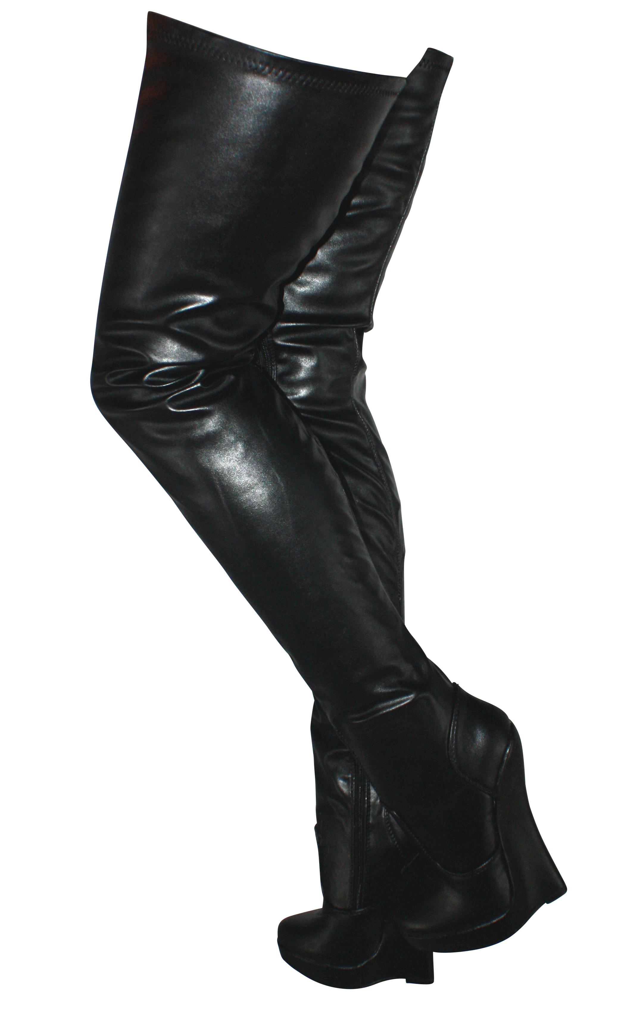 Details about Erogance Leatherette Wedge High Heels Crotch Overknees Size 37 46 New 5072 Black
