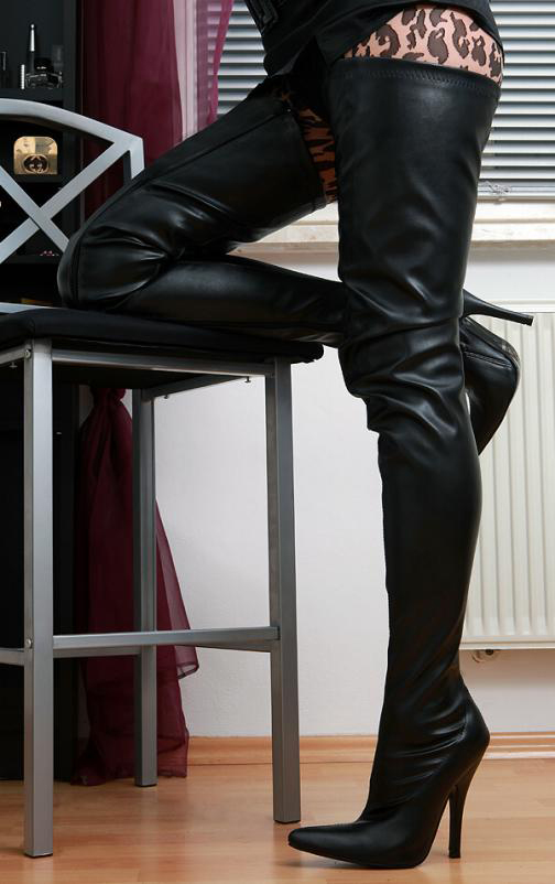 Details about Erogance Crotch High Heels Overknee Boots Black Faux Leather 37 46 New 3623L